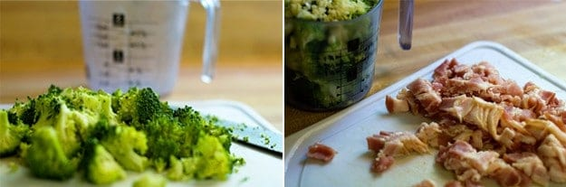 chopped broccoli and bacon