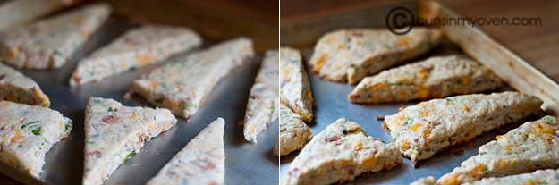 A few cheddar scones on a table
