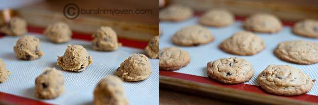 Cookies on a baking sheet before and after cooking.