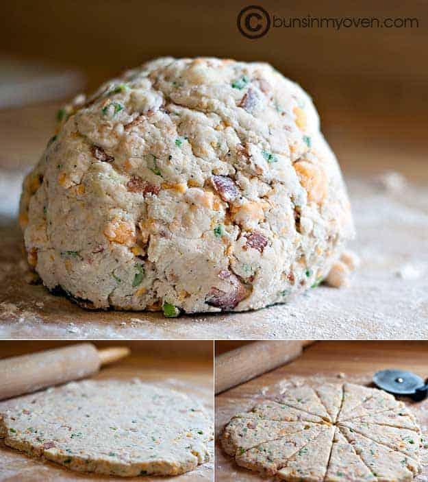 A scone dough ball on a cutting board
