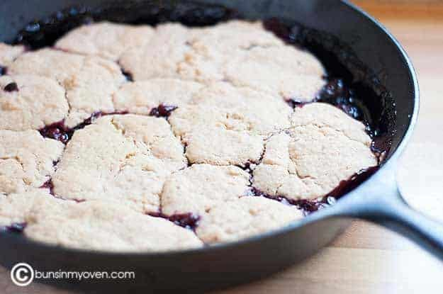 A close up of the top of blackberry cobbler.