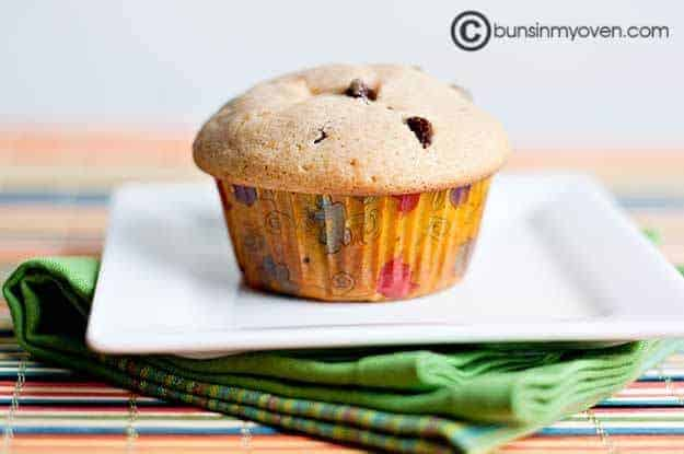 A chocolate chip muffin on a whtie plate.