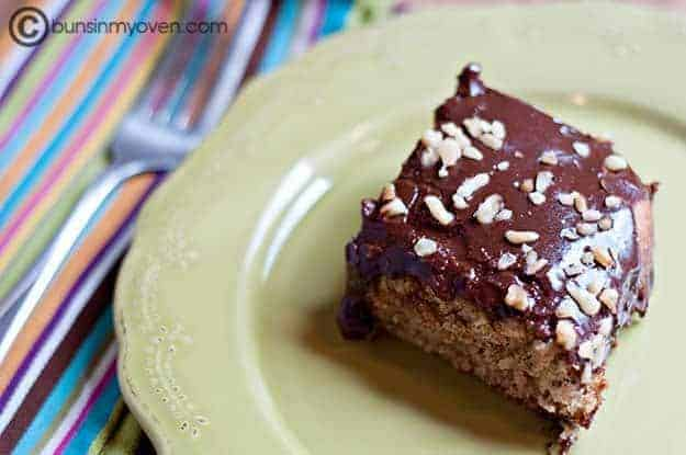 Recipe for chocolate banana cake with peanut butter frosting