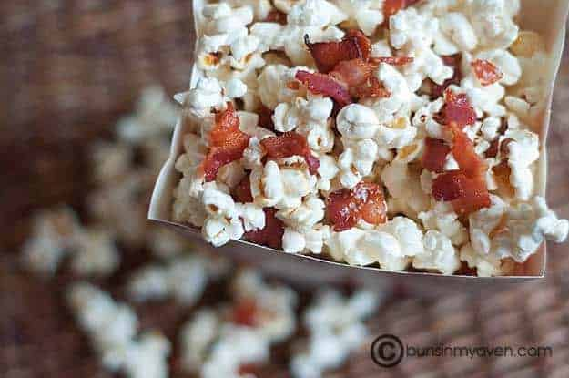 An overhead view of popcorn with bacon pieces in it