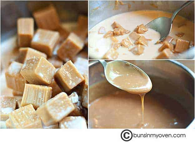 A photo collage of caramel melting