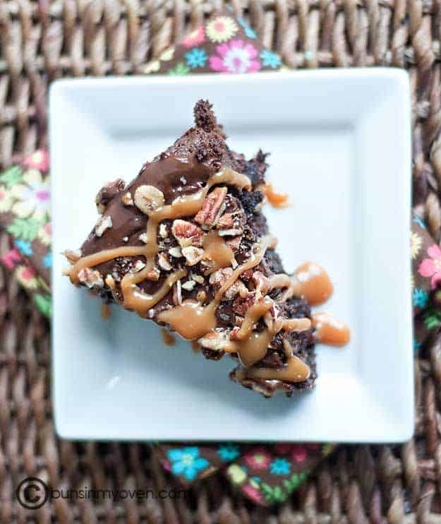 A triangle piece of caramel brownie cake