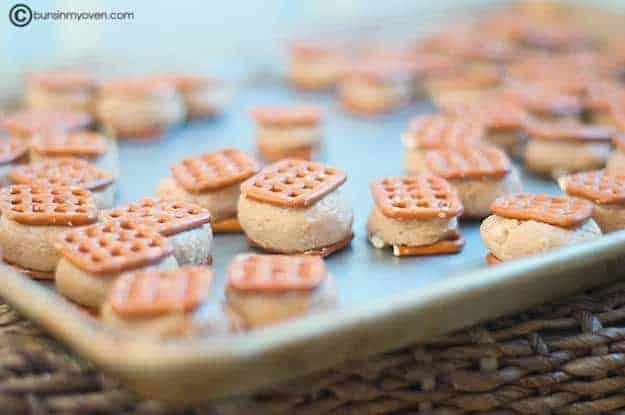 A closeup of peanut butter pretzel sandwiches