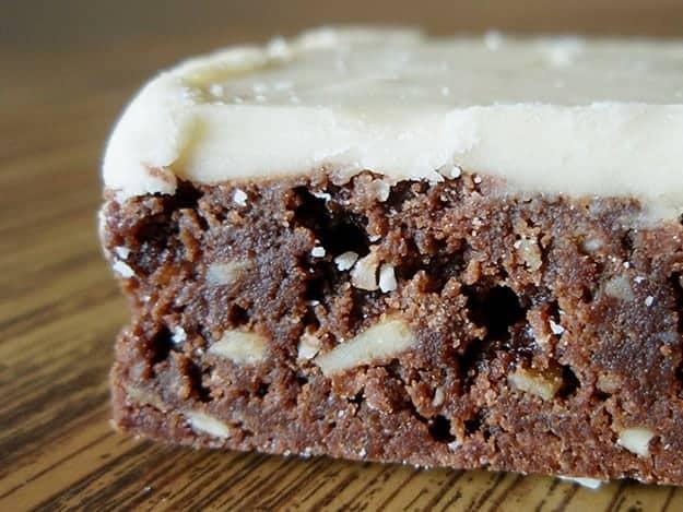 A closeup of butterscotch brownies