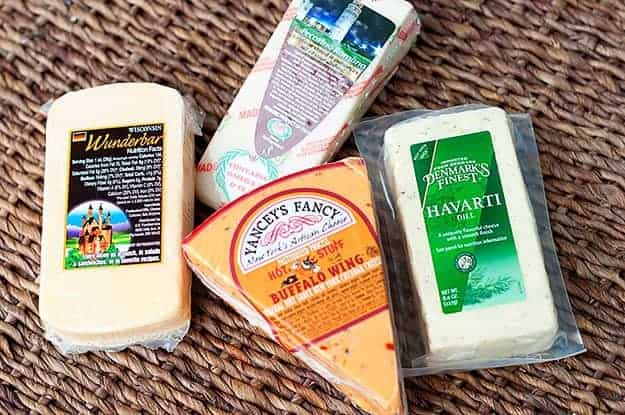 Various packages of cheese
