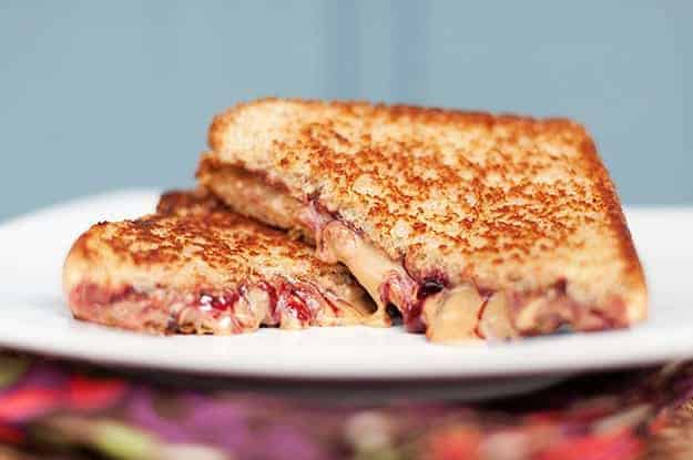 A closeup of grilled peanut butter and jelly sandwich
