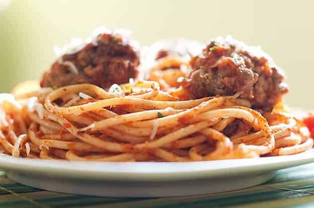 These spaghetti meatballs are perfect for this dish. Fluffy and flavorful!