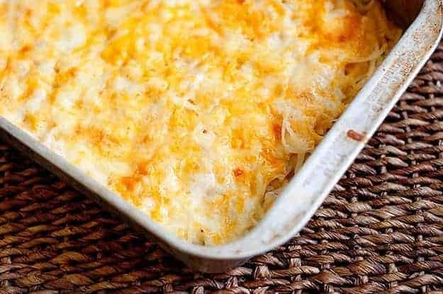 Cheesy potato casserole in the baking pan