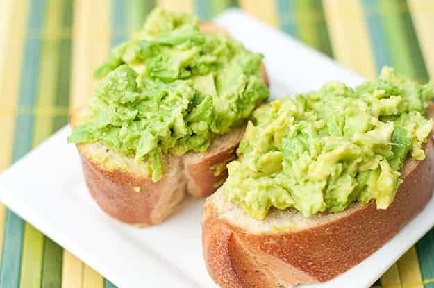 overhead view of avocado toast