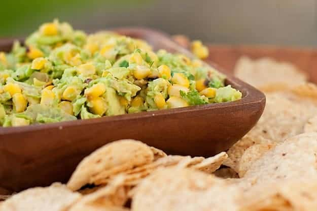 Homemade guacamole dip with chips!