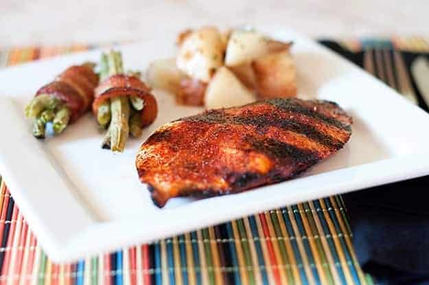 chicken bbq dry rub served with roasted green beans and potatoes.