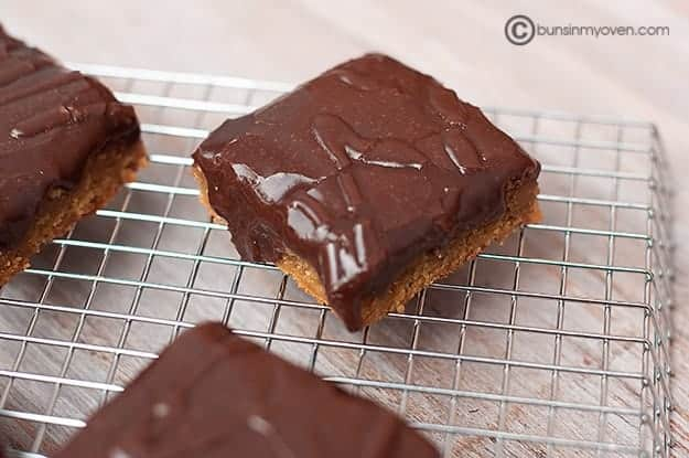 chocolate peanut butter bars cooling down
