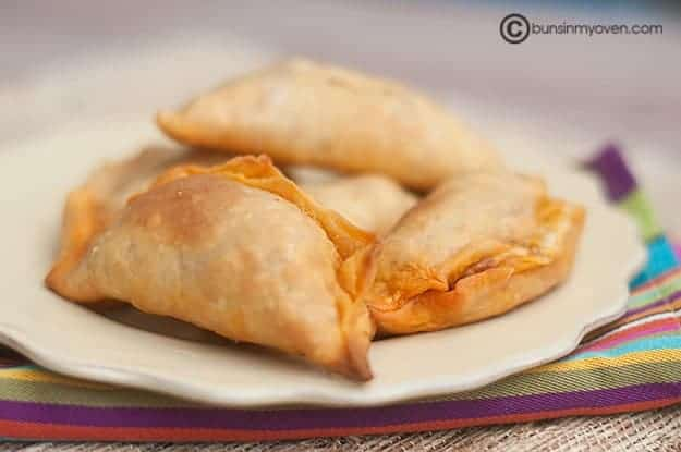 Chorizo and cheese empanada recipe cooked and served on a plate