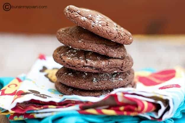 Stacked Rolo filled chocolate cake mix cookies.