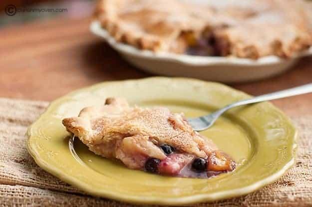 Peach blueberry pie ready to serve.