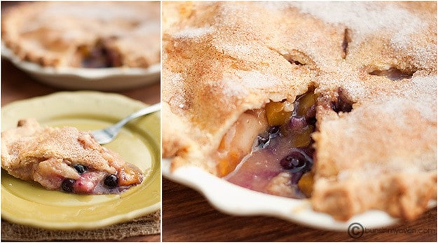 Sliced peach blueberry pie