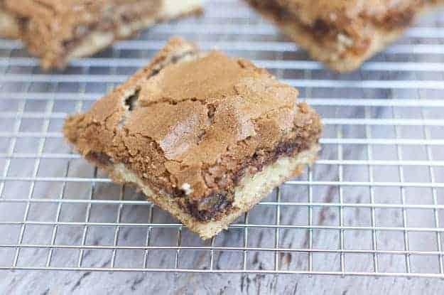 A closeup of a hot fudge peanut butter bar