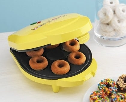 Mini donuts in a donut iron.