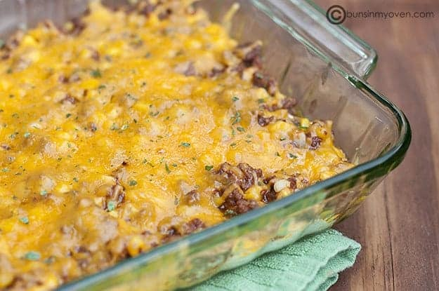 Ground beef casserole in a glass baking pan.