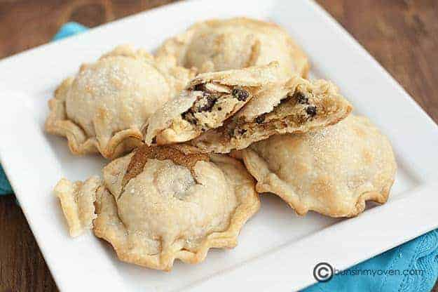 Chocolate chip cookies pies on a white dish.