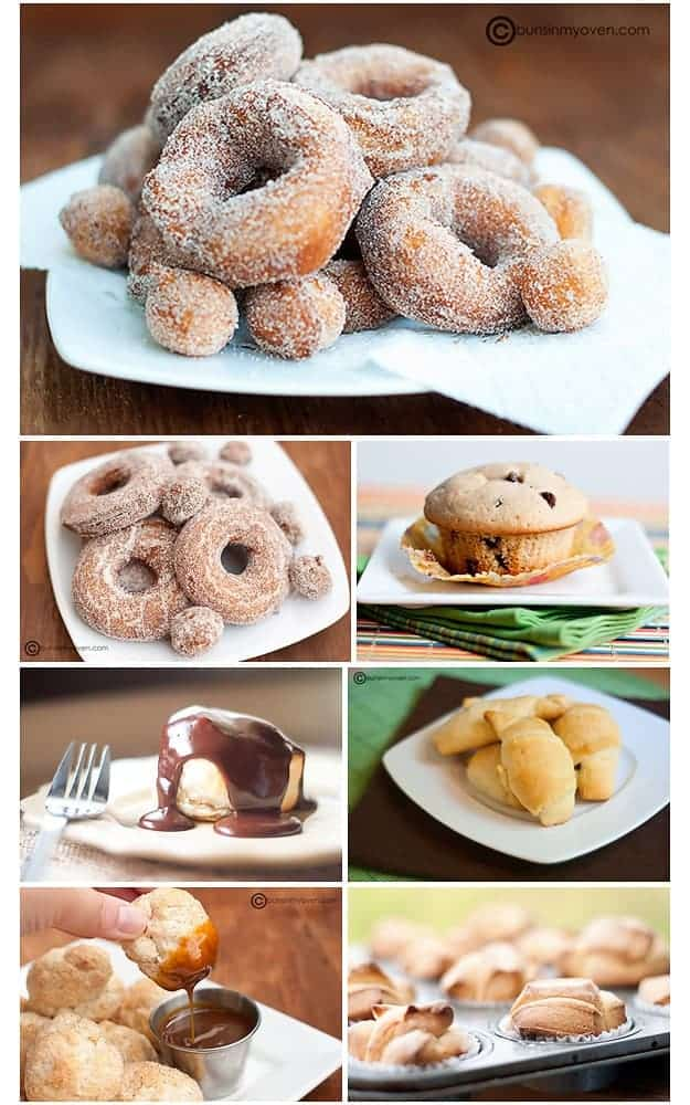 A photo collage of various baked foods.