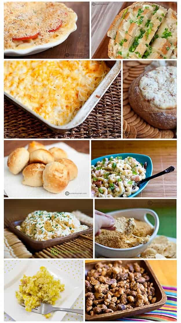 A photo collage of various side dishes.