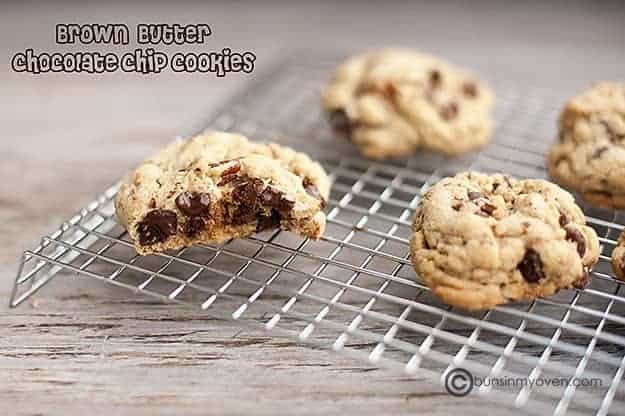 Brown butter chocolate chip cookie split on a drying rack