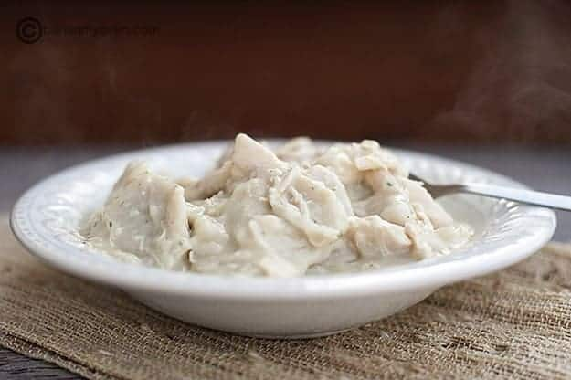 steaming hot southern chicken and dumplings in a decorative white bowl.