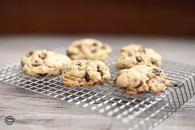 Brown butter chocolate chip cookie recipe just baked and drying on a rack
