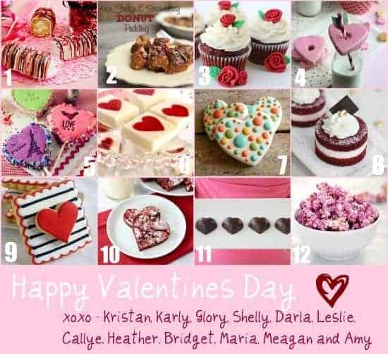 A photo collage of valentines recipes