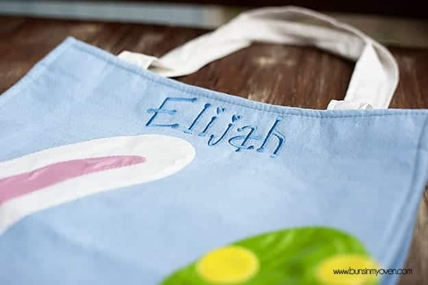 A close up of a crafted easter bag