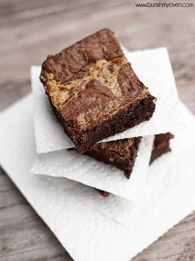 In overhead view of a brownie