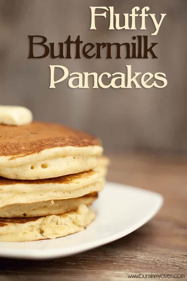 Three stacked up buttermilk pancakes