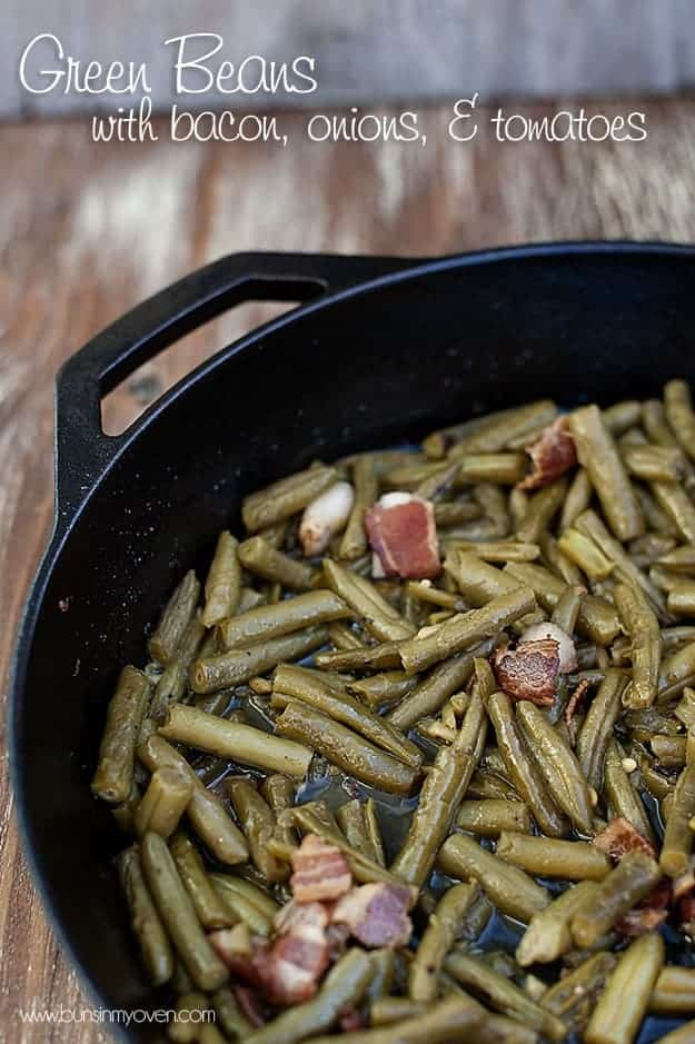 Green beans and chopped bacon in a skillet