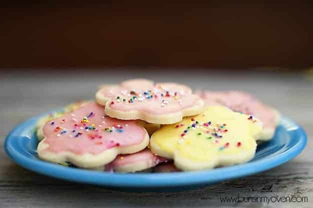 A stack of butter cookies on a plate