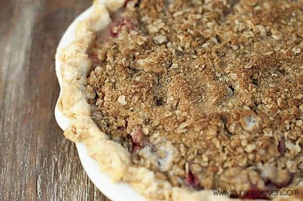 An overhead view of strawberry rhubarb pie