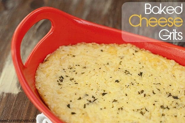 Cheese grits in a red baking pan