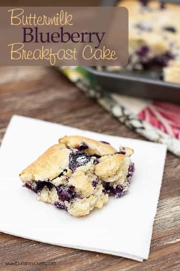A serving of blueberry breakfast take on a square white plate