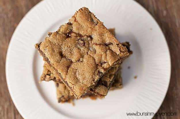 An overhead view of a stack of cookie bars