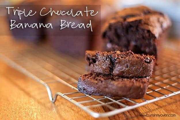 Chocolate banana bread sliced from the loaf