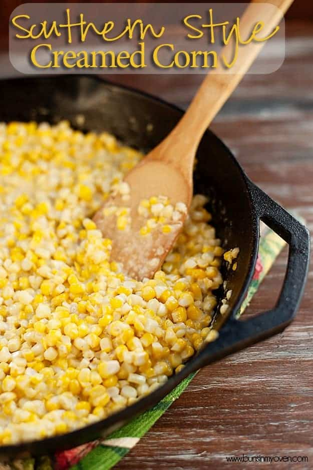 A close up of cream corn in a cast iron skillet