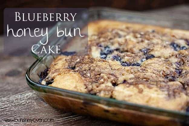 A blueberry honey bun cake in a nine by thirteen pan.