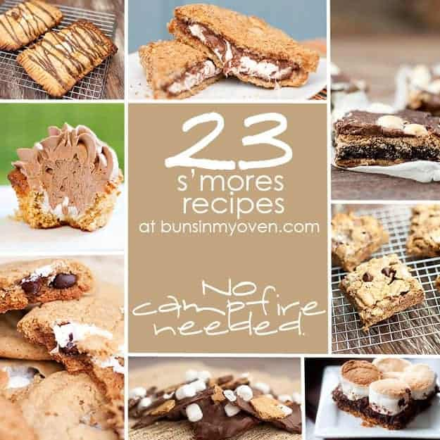 The photo collage of different smores recipes