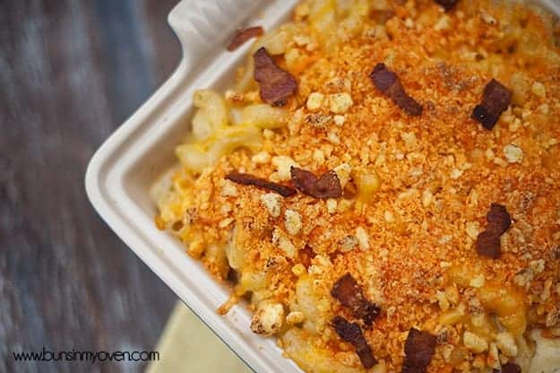 Overhead view of jalapeno bacon macaroni and cheese.