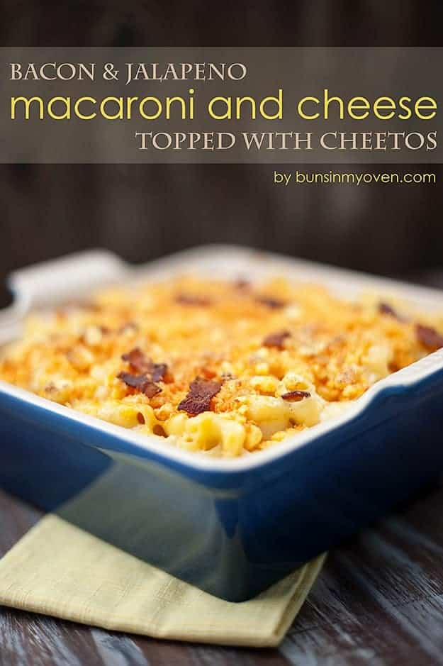 A baking pan of jalapeno bacon macaroni and cheese.