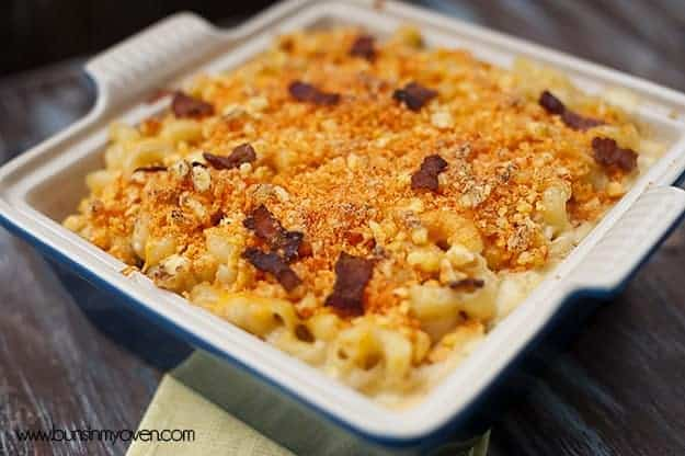 A close up of crunchy jalapeno bacon macaroni and cheese